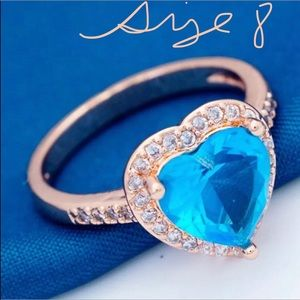 Ocean Blue Rose Gold Plated Ring